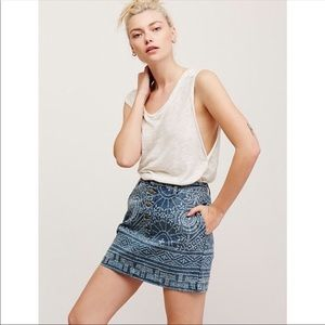 Free People School Daze Denim Mini Skirt